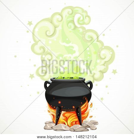 Witches cauldron with green potion and steam to heat the object isolated on white background