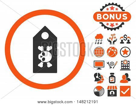 Death Label icon with bonus design elements. Vector illustration style is flat iconic bicolor symbols, orange and gray colors, white background.