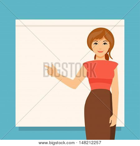 Business woman showing on the board. Presentation. Empty space for your text
