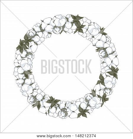 Wreath (frame) with hand drawn cotton flowers vector illustration