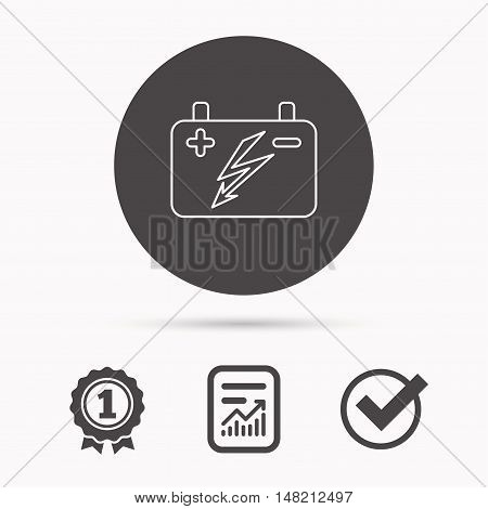 Accumulator icon. Electrical battery sign. Report document, winner award and tick. Round circle button with icon. Vector