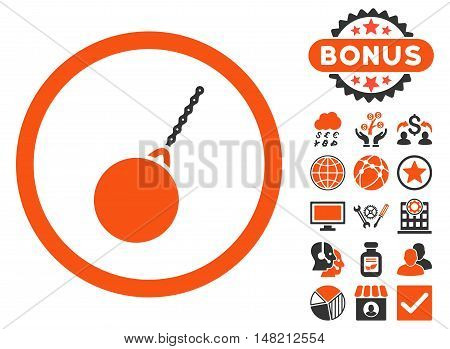 Destruction Hammer icon with bonus symbols. Vector illustration style is flat iconic bicolor symbols, orange and gray colors, white background.