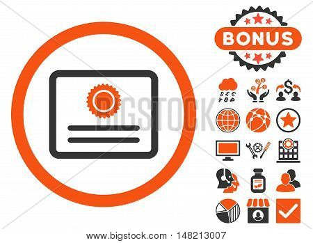 Diploma icon with bonus symbols. Vector illustration style is flat iconic bicolor symbols, orange and gray colors, white background.