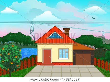 Nice country house illustration. Nice rural cottage on wonderful natural background illustration.