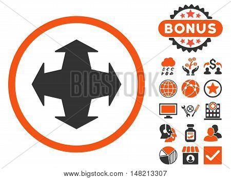 Directions icon with bonus symbols. Vector illustration style is flat iconic bicolor symbols, orange and gray colors, white background.