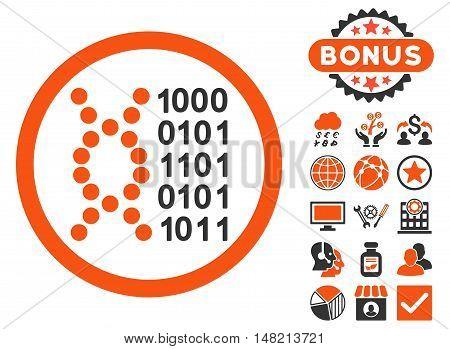 DNA Code icon with bonus symbols. Vector illustration style is flat iconic bicolor symbols, orange and gray colors, white background.