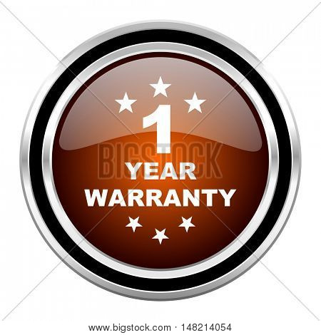 warranty guarantee 1 year round circle glossy metallic chrome web icon isolated on white background