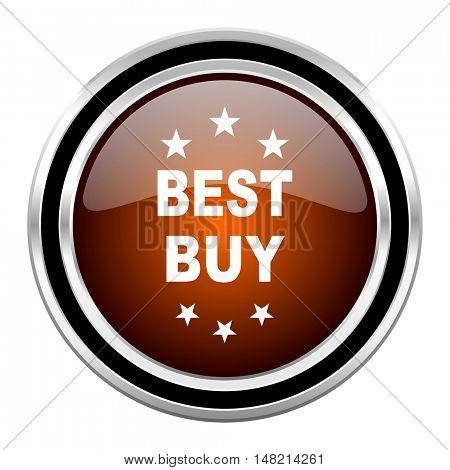 best buy round circle glossy metallic chrome web icon isolated on white background