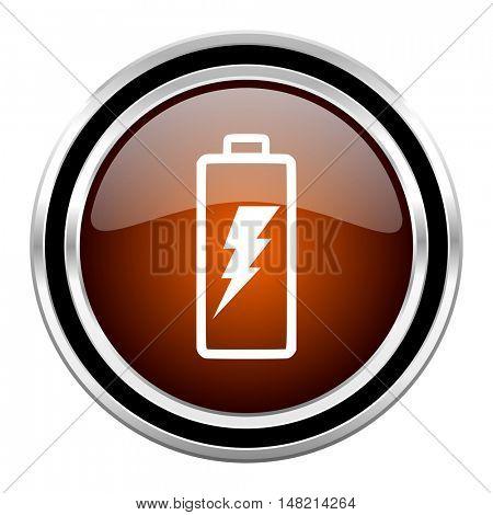 battery round circle glossy metallic chrome web icon isolated on white background