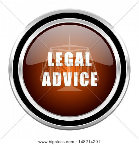 legal advice round circle glossy metallic chrome web icon isolated on white background
