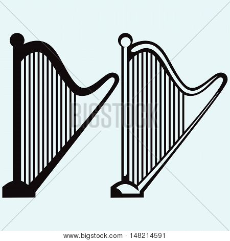 Illustration of lyre. Isolated on white background. Vector style