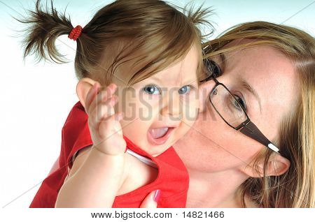 beautiful mom and baby play together isolated on white