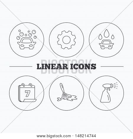 Car wash icons. Automatic cleaning station linear signs. Wet cleaning and spray flat line icons. Flat cogwheel and calendar symbols. Linear icons in circle buttons. Vector