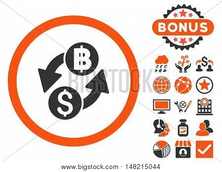 Dollar Baht Exchange icon with bonus pictures. Vector illustration style is flat iconic bicolor symbols, orange and gray colors, white background.