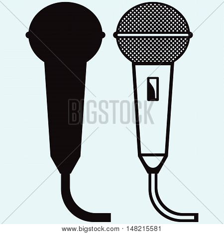 Microphone icons set isolated on blue background