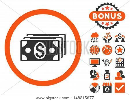 Dollar Banknotes icon with bonus design elements. Vector illustration style is flat iconic bicolor symbols, orange and gray colors, white background.
