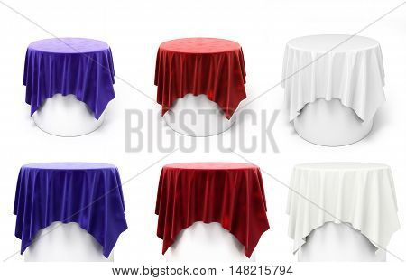 Collection Of Round Blue And Red Velor Cloth On A Round Pedestal 3D Render On White
