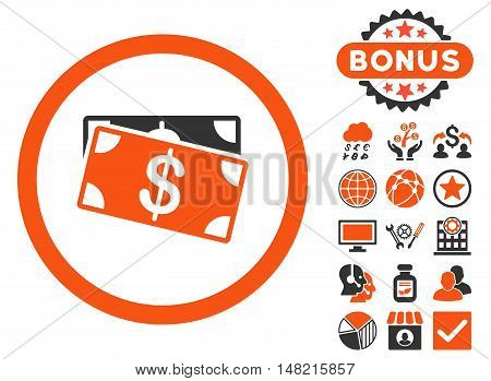 Dollar Banknotes icon with bonus pictogram. Vector illustration style is flat iconic bicolor symbols, orange and gray colors, white background.