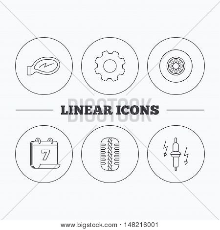 Wheel, car mirror and spark plug icons. Tire tread linear sign. Flat cogwheel and calendar symbols. Linear icons in circle buttons. Vector