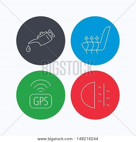 Motor oil, passing fog lights and gps icons. Heated seats linear sign. Linear icons on colored buttons. Flat web symbols. Vector