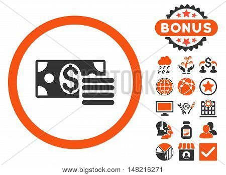 Dollar Cash icon with bonus pictures. Vector illustration style is flat iconic bicolor symbols, orange and gray colors, white background.