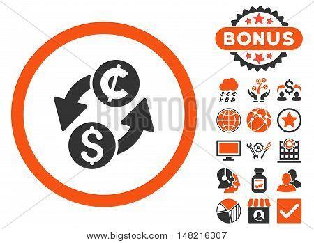 Dollar Cent Exchange icon with bonus design elements. Vector illustration style is flat iconic bicolor symbols, orange and gray colors, white background.