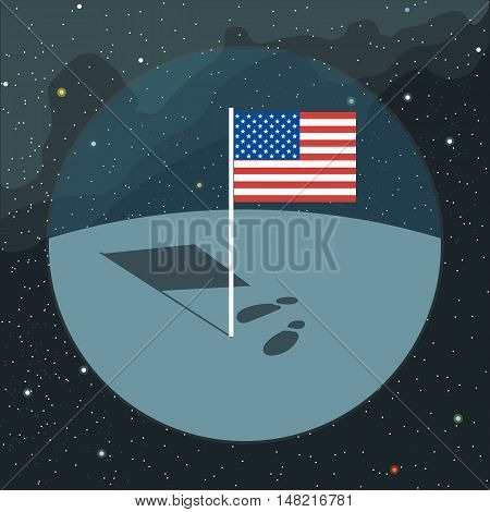 Digital vector with american usa flag icon, planet, shadow and foot steps, over background with stars, flat style