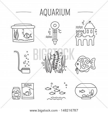 Hand drawn thin line icons set, vector illustration. Aquarium care. Fish, decoration, water tanks and special equipment. Isolated symbols. Black on white pictograms. Simple mono linear modern design.