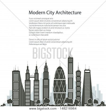 Modern Big City with Buildings and Skyscraper Isolated on White Background, Architecture Megapolis, City Financial Center ,Poster Brochure Flyer Design, Vector Illustration