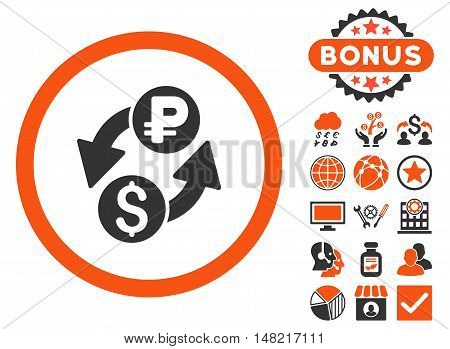 Dollar Rouble Exchange icon with bonus images. Vector illustration style is flat iconic bicolor symbols, orange and gray colors, white background.