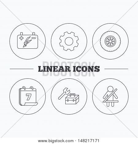 Accumulator, wheel and car service icons. Repair toolbox, fasten seat belt linear signs. Flat cogwheel and calendar symbols. Linear icons in circle buttons. Vector