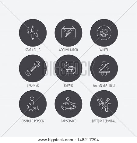 Accumulator, spanner tool and car service icons. Repair toolbox, wheel and spark plug linear signs. Disabled person, battery terminal icons. Linear icons in circle buttons. Flat web symbols. Vector