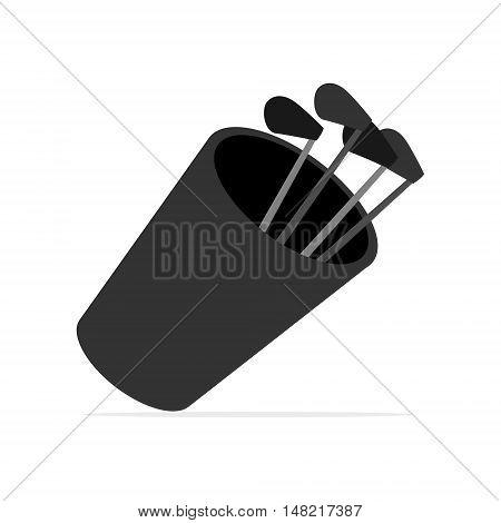 Simple golf bag with golf clubs. Isolated vector illustration.