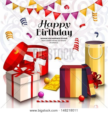 Happy birthday greeting card. Pile of colorful wrapped gift boxes. Lots of presents and toys. Playing ball, bunting flag and confetti. Ornament background.
