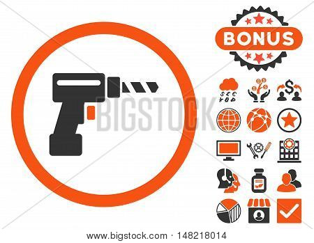 Drill icon with bonus elements. Vector illustration style is flat iconic bicolor symbols, orange and gray colors, white background.