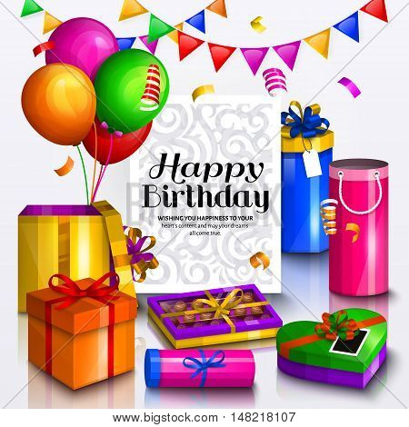 Happy birthday greeting card. Pile of colorful wrapped gift boxes. Lots of presents and toys. Party balloons, box of chocolates, bunting flag and confetti. Ornament paper for your text.