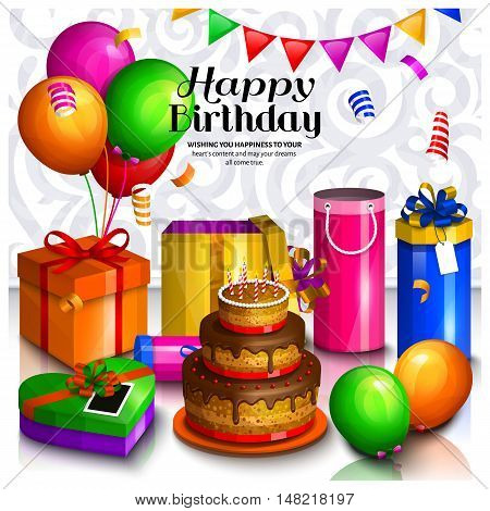 Happy birthday greeting card. Pile of colorful wrapped gift boxes. Lots of presents and toys. Party balloons, bunting flag and cake on the floor. Ornament background.