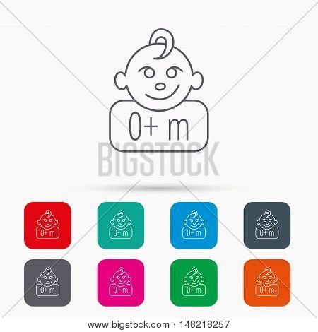 Baby face icon. Newborn child sign. Use of one months and plus symbol. Linear icons in squares on white background. Flat web symbols. Vector