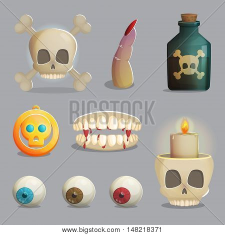 A collection of scull based items and other human body parts, golden pendant, lantern and other spooky elements for game and app design.