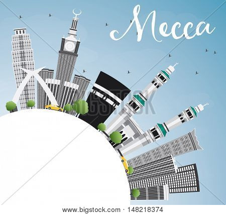 Mecca Skyline with Landmarks, Blue Sky and Reflection. Travel and Tourism Concept with Historic Buildings. Image for Presentation Banner Placard and Web Site.
