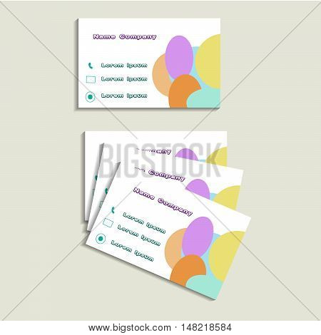 business card with company name and contacts.