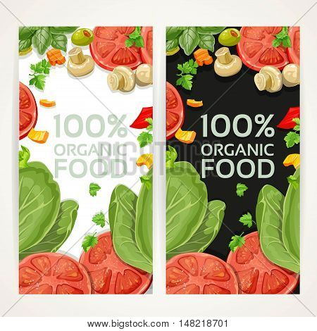 White And Black Vertical Banners With Vegetarian Fresh Organic Natural Food