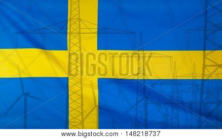 Concept Energy Distribution Flag of Sweden merged with high voltage power poles