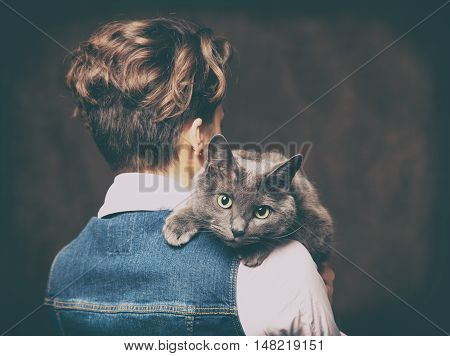 Beautiful Young Woman With Blue Russian Cat. Love For Pet. Studio Photo.
