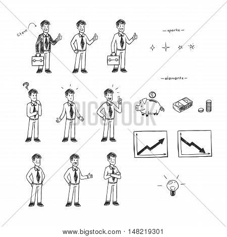 Hand drawn black and white illustration vector set for doodle animation. Businessman and finances.
