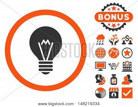 Electric Bulb icon with bonus images. Vector illustration style is flat iconic bicolor symbols, orange and gray colors, white background.