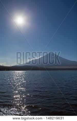 Mountain Fuji and lake yamanaka before sunset time