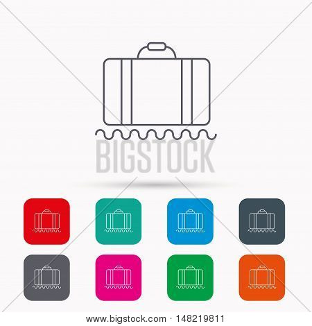Baggage icon. Luggage sign. Linear icons in squares on white background. Flat web symbols. Vector