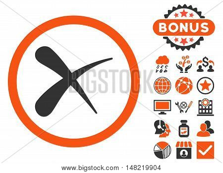 Erase icon with bonus pictures. Vector illustration style is flat iconic bicolor symbols, orange and gray colors, white background.