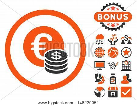 Euro and Dollar Coins icon with bonus symbols. Vector illustration style is flat iconic bicolor symbols, orange and gray colors, white background.